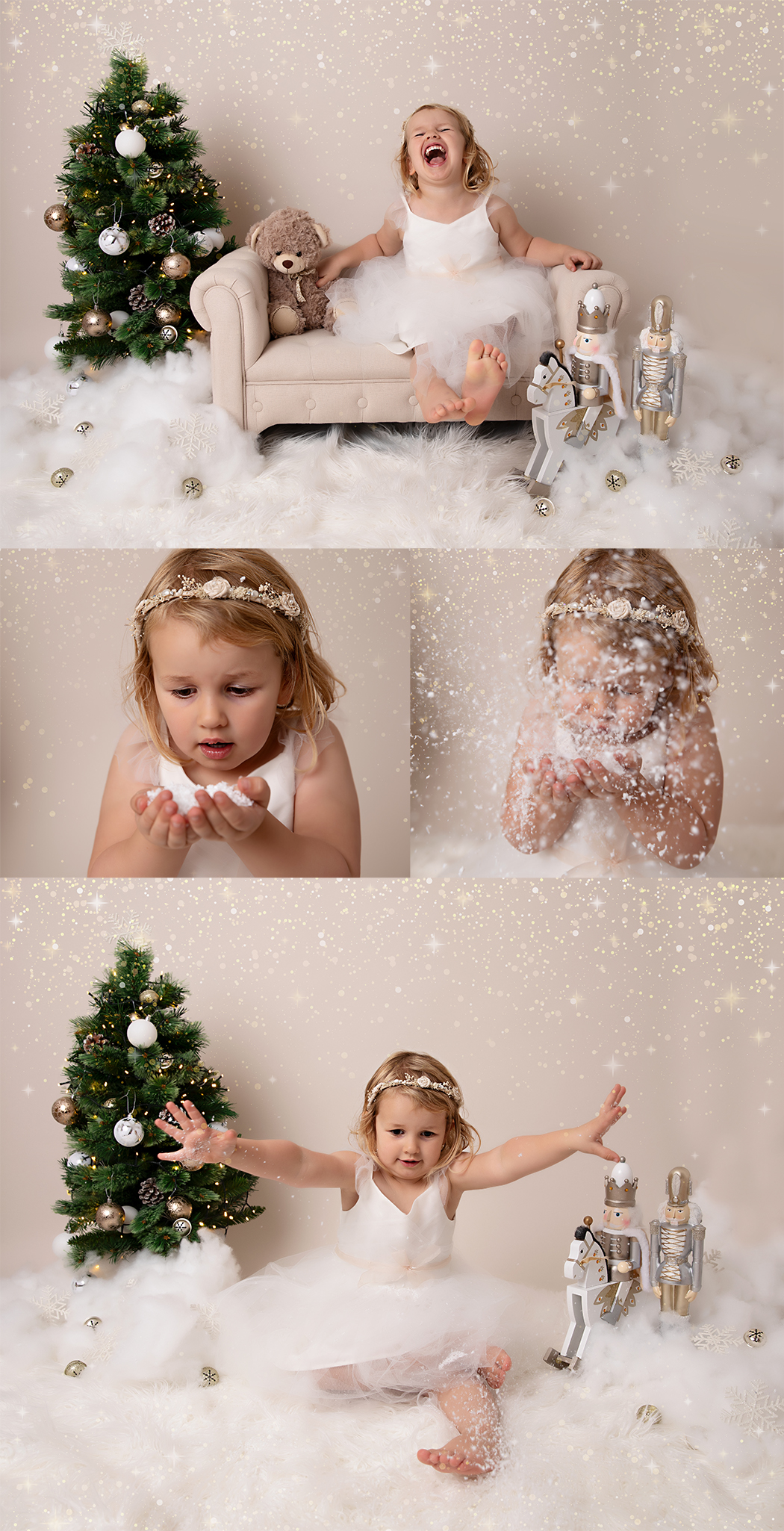 3 year old girl at her Christmas photoshoot playing with fake snow and laughing at her parents