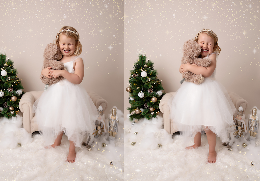 Young girl cuddling a teddy bear at her Christmas photoshoot