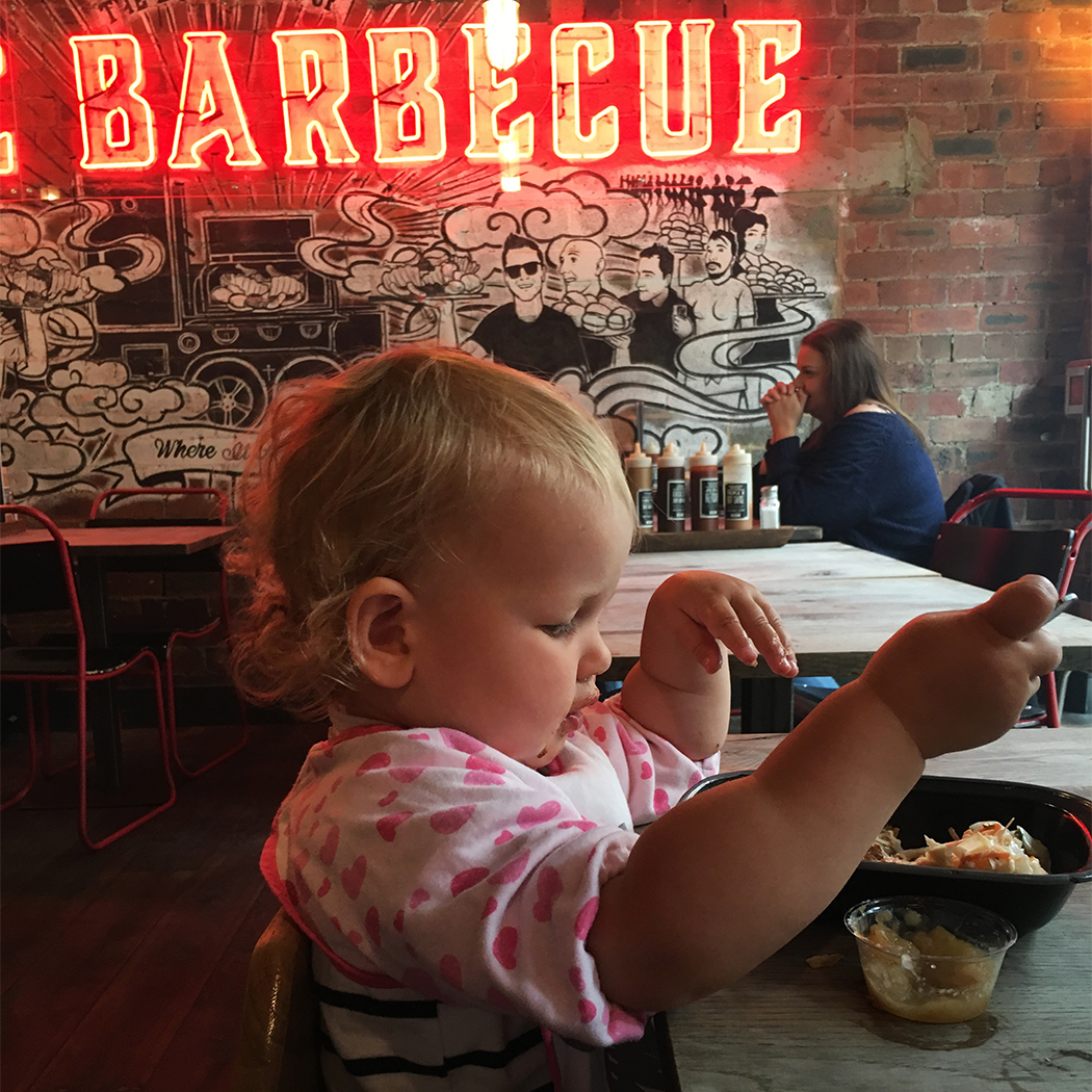 Baby at Red's True Barbecue Leeds