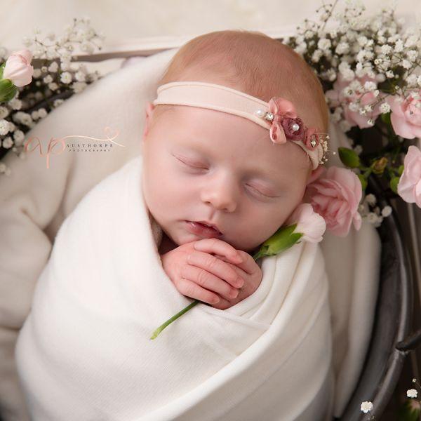 Fresh flowers at newborn photography shoot