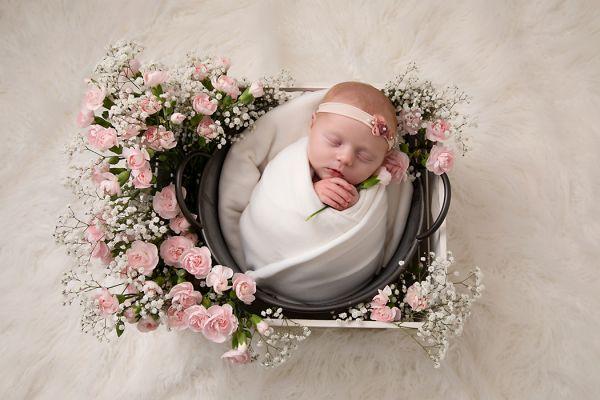 fresh flowers at newborn photo shoot in Leeds studio