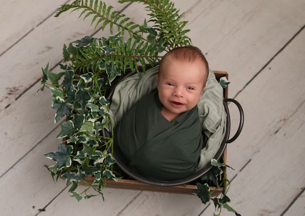 foliage used at boy newborn photography shoot in leeds