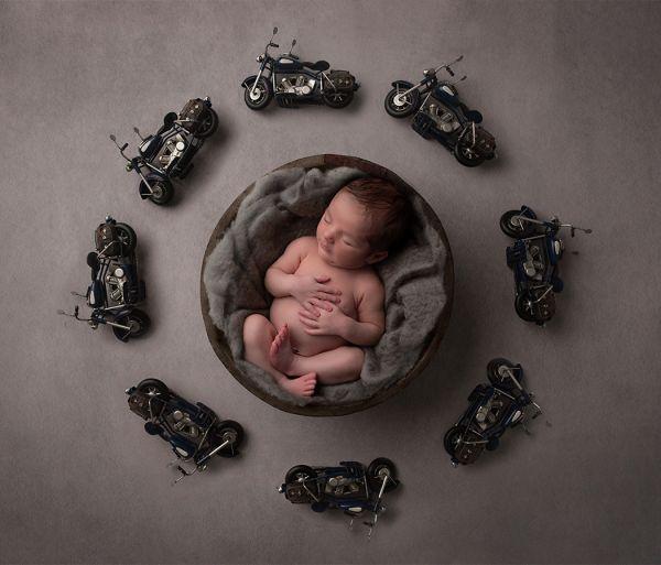 Newborn photoshoot using motorbike