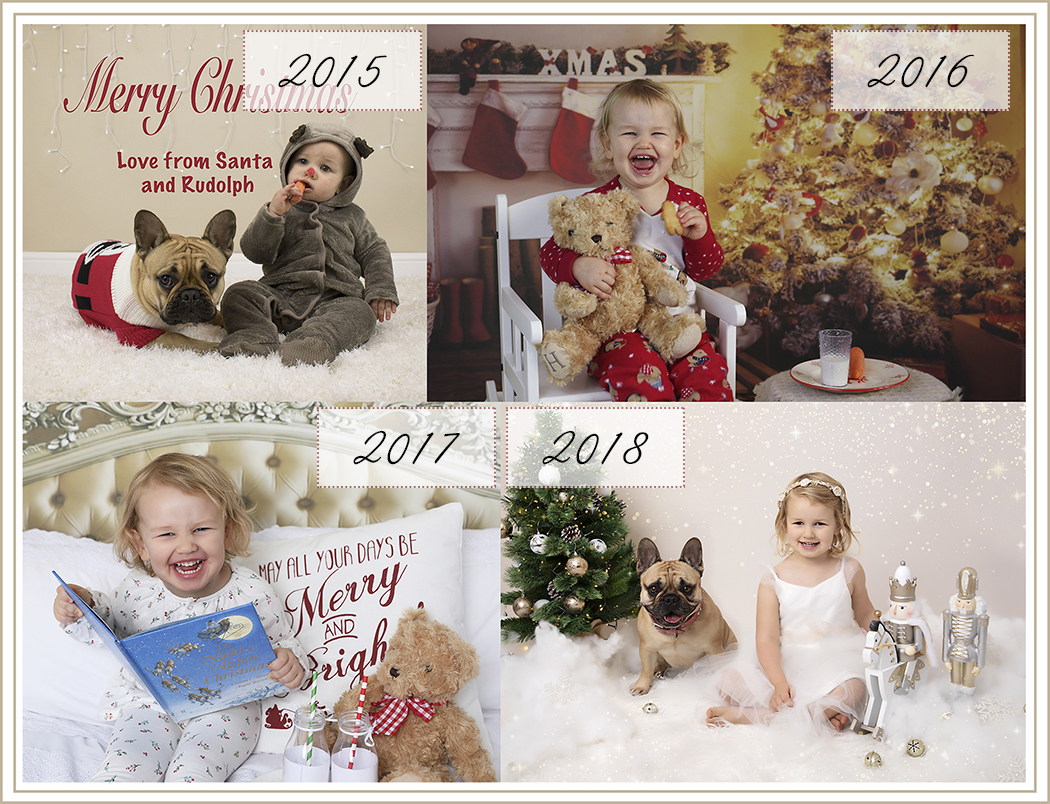 Christmas photo shoots over 4 years showing the changes of one girl from her first Christmas to her fourth