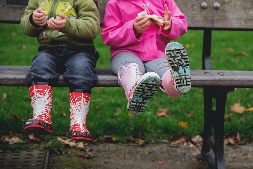 Muddy kids wellington boots