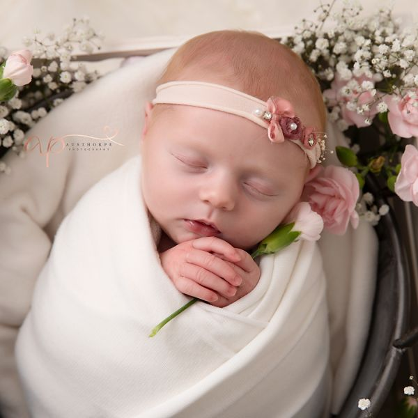 Fresh flowers at newborn photography shoot