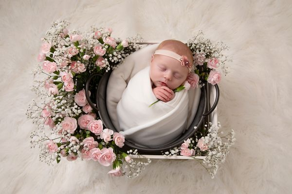 fresh flowers at newborn photo shoot in Leeds studio