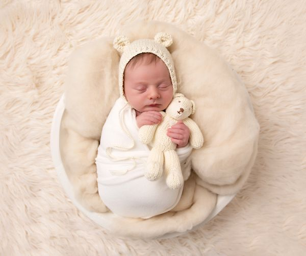 Teddy bear bonnet used at newborn photography shoot in leeds